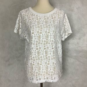 Vince White Tiled Lace Short-Sleeve Tee